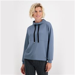 Jersey Sweatshirt With Patent Fasteners Studs And Tie Ribbons Blue