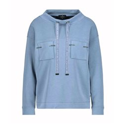Long Sleeve Sweatshirt With Patch Pockets Blue