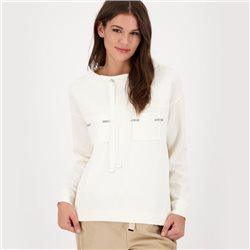 Long Sleeve Sweatshirt With Patch Pockets Off White