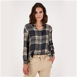 Oversized Blouse With Check Pattern And Shirt Collar Grey