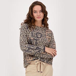 Leopard Design Cotton Knitted Jumper Truffle