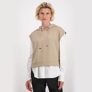 Hooded Sweatshirt Slipover With Rhinestones Truffle