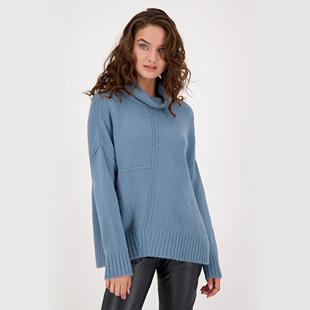 Fleece Yarn Stand-Up Collar Jumper Blue