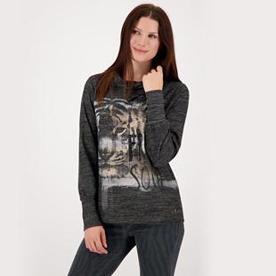 Mottled Jersey Shirt With Print Design Grey