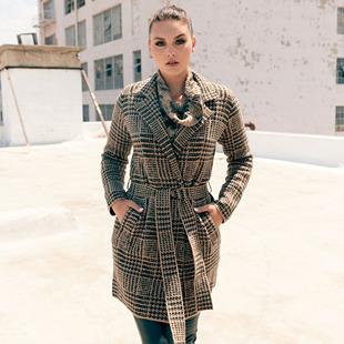 Jacquard Llong Cardigan With Lapel Collar And Belt Truffle