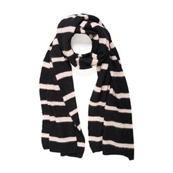 Striped Knitted Scarf Black