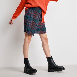 Checkered Skirt Blue