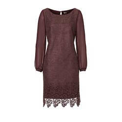 Vera Mont Lace Dress With Chiffon Sleeves Grape