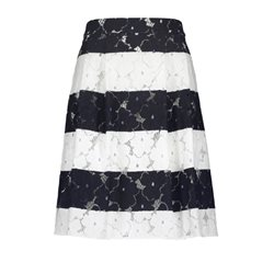 Taifun Striped Pleated Skirt Navy