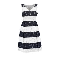 Taifun Embroidered Striped Dress Navy