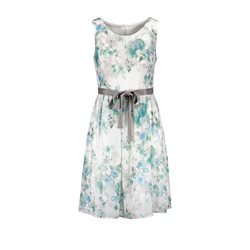 Taifun Floral Dress With Ribbon Mint