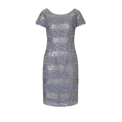 Vera Mont Lace Layered Dress Pewter