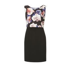 Vera Mont Floral Bodice Dress Black