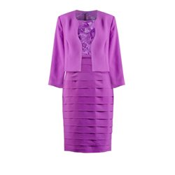 Zeila Frilled Dress With Mini Jacket Purple