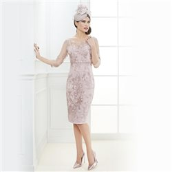 Zeila Lace Beaded Dress With Shawl Blush
