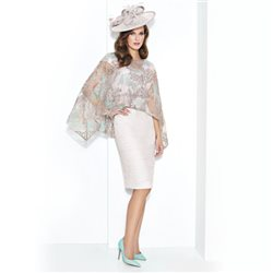 Cabotine Ruched Dress With Lace Cape Stone