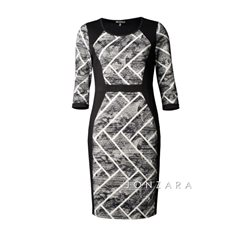 Picadilly Lattice Print Fitted Dress Black