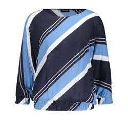 Taifun Angled Stripe Top Blue