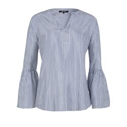 Olsen Bell Sleeved Striped Blouse Navy