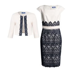 Zeila Lace Dress With Tailored Jacket Navy And Almond