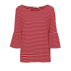 Monari Striped Bell Sleeved Top Red
