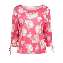 Betty & Co Floral Print Top Fucshia