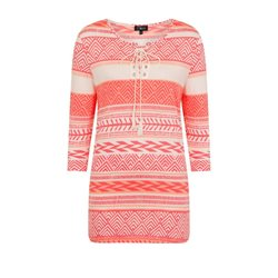 Emreco Ethnic Stripe Top Coral