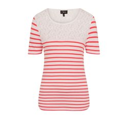 Emreco Striped Top With Lace Coral