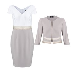 Zeila Two Toned Dress With Jacket Taupe