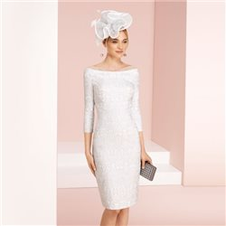 Rosa Clara Jacquard Fitted Dress Silver