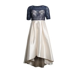 Rosa Clara Lace And Dipped Hem Dress Navy And Gold