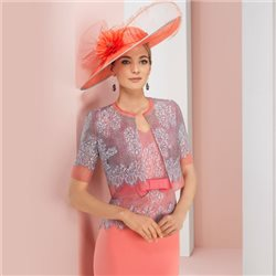 Rosa Clara Lace Dress With Lace Jacket Coral