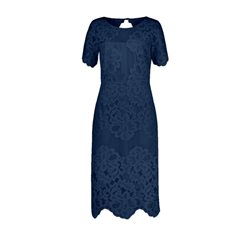 Vera Mont Lace Overlay Dress Navy