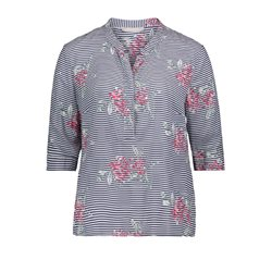Betty & Co Striped Floral Print Blouse Navy