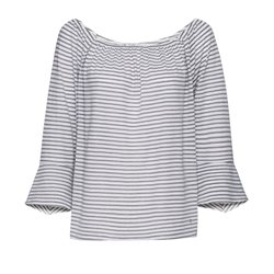 Monari Striped Bell Sleeve Top Grey