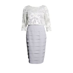 Zeila Layered Dress With Lace Overlay Silver