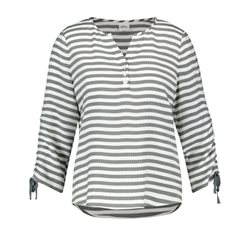 Taifun Striped Ruffle Sleeved Top Forest