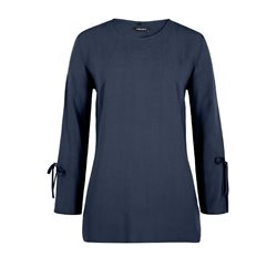 Olsen Loose Fitting Split Sleeve Top Navy