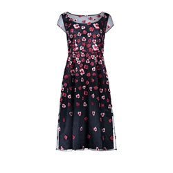 Vera Mont Embroidered Flower Dress Navy
