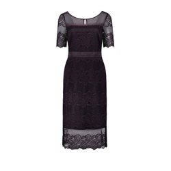 Vera Mont Fitted Lace Dress Aubergine