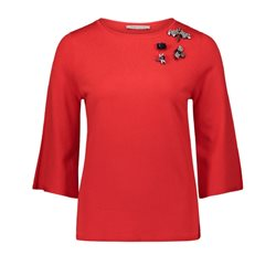 Betty Barclay Fine Knit Jumper With Brooches Red