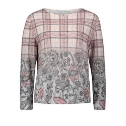 Betty Barclay Checked And Floral Top Blush