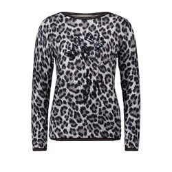Betty Barclay Animal Print Jumper With Rhinestones Taupe
