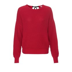 Monari Knitted Jumper With A Bow Red