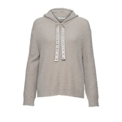 Monari Soft Knit Hooded Pullover Grey