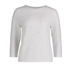 Betty & Co Ribbed Jumper With Pearls White