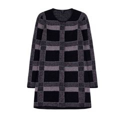 Emreco Check Knitted Cardigan Black
