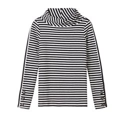 Sandwich Clothing Striped Cowl Neck Top Black