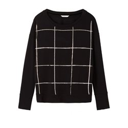 Sandwich Clothing Sequin Grid Pattern Jumper Black