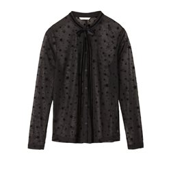 Sandwich Clothing Sheer Star Patterned Blouse Black
